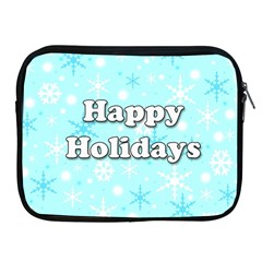 Happy holidays blue pattern Apple iPad 2/3/4 Zipper Cases