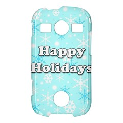 Happy holidays blue pattern Samsung Galaxy S7710 Xcover 2 Hardshell Case