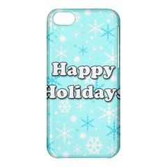 Happy holidays blue pattern Apple iPhone 5C Hardshell Case