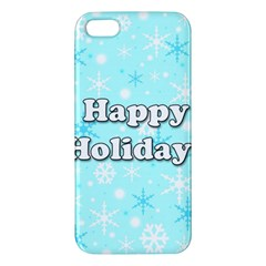 Happy holidays blue pattern iPhone 5S/ SE Premium Hardshell Case