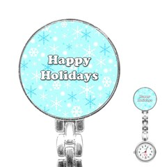 Happy holidays blue pattern Stainless Steel Nurses Watch