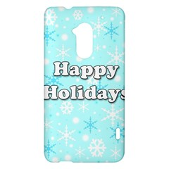Happy holidays blue pattern HTC One Max (T6) Hardshell Case