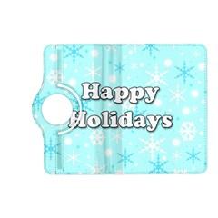 Happy holidays blue pattern Kindle Fire HD (2013) Flip 360 Case