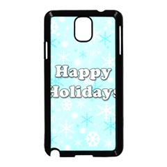 Happy holidays blue pattern Samsung Galaxy Note 3 Neo Hardshell Case (Black)