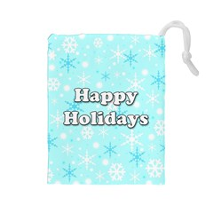 Happy holidays blue pattern Drawstring Pouches (Large)