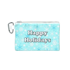 Happy holidays blue pattern Canvas Cosmetic Bag (S)