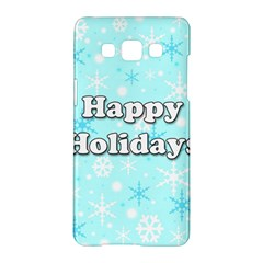 Happy holidays blue pattern Samsung Galaxy A5 Hardshell Case