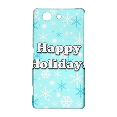 Happy holidays blue pattern Sony Xperia Z3 Compact