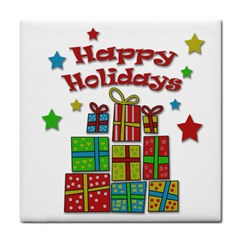 Happy Holidays - gifts and stars Tile Coasters