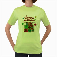 Happy Holidays - gifts and stars Women s Green T-Shirt