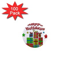 Happy Holidays - gifts and stars 1  Mini Magnets (100 pack)