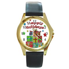 Happy Holidays - gifts and stars Round Gold Metal Watch