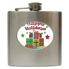 Happy Holidays - gifts and stars Hip Flask (6 oz)
