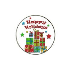 Happy Holidays - gifts and stars Hat Clip Ball Marker