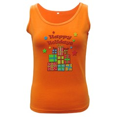 Happy Holidays - gifts and stars Women s Dark Tank Top