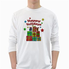 Happy Holidays - gifts and stars White Long Sleeve T-Shirts
