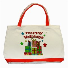 Happy Holidays - gifts and stars Classic Tote Bag (Red)