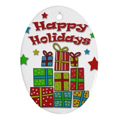 Happy Holidays - gifts and stars Oval Ornament (Two Sides)