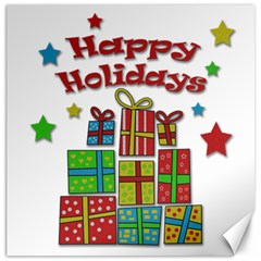 Happy Holidays - gifts and stars Canvas 20  x 20