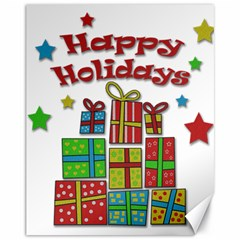Happy Holidays - gifts and stars Canvas 11  x 14