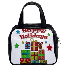 Happy Holidays - gifts and stars Classic Handbags (2 Sides)