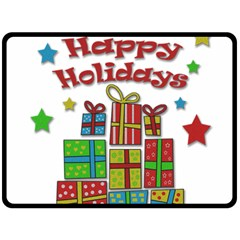 Happy Holidays - gifts and stars Fleece Blanket (Large)
