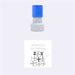 Happy Holidays - gifts and stars Rubber Round Stamps (Small)