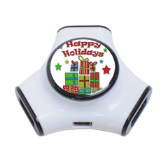 Happy Holidays - gifts and stars 3-Port USB Hub