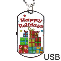 Happy Holidays - gifts and stars Dog Tag USB Flash (One Side)