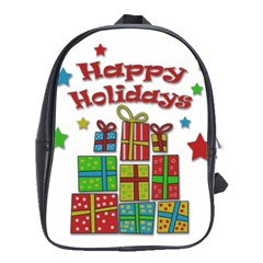 Happy Holidays - gifts and stars School Bags (XL)