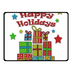Happy Holidays - gifts and stars Double Sided Fleece Blanket (Small)