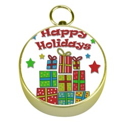 Happy Holidays - gifts and stars Gold Compasses