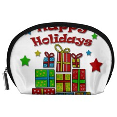 Happy Holidays - gifts and stars Accessory Pouches (Large)