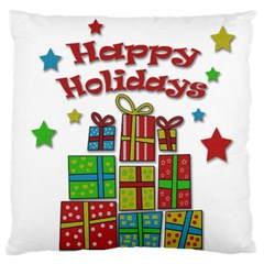 Happy Holidays - gifts and stars Standard Flano Cushion Case (One Side)