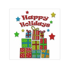Happy Holidays - gifts and stars Small Satin Scarf (Square)