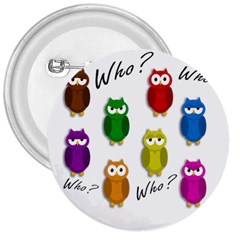 Cute owls - Who? 3  Buttons