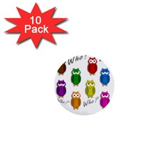 Cute owls - Who? 1  Mini Buttons (10 pack)