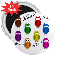 Cute owls - Who? 3  Magnets (10 pack)