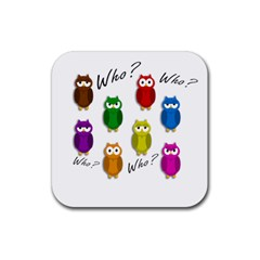 Cute owls - Who? Rubber Coaster (Square)