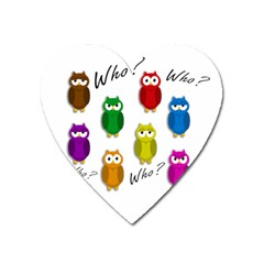 Cute owls - Who? Heart Magnet