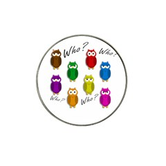 Cute owls - Who? Hat Clip Ball Marker (4 pack)