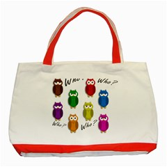 Cute owls - Who? Classic Tote Bag (Red)