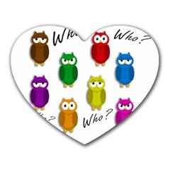 Cute owls - Who? Heart Mousepads