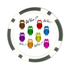 Cute owls - Who? Poker Chip Card Guards