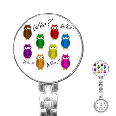 Cute owls - Who? Stainless Steel Nurses Watch