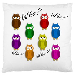Cute owls - Who? Large Flano Cushion Case (One Side)