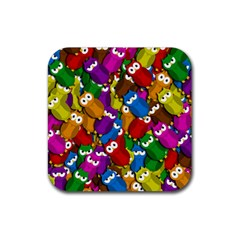Cute owls mess Rubber Coaster (Square)