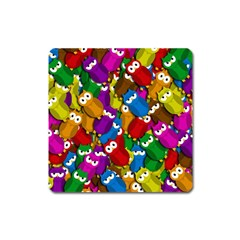 Cute owls mess Square Magnet