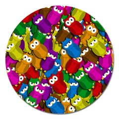 Cute owls mess Magnet 5  (Round)