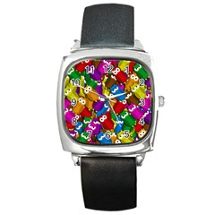 Cute owls mess Square Metal Watch